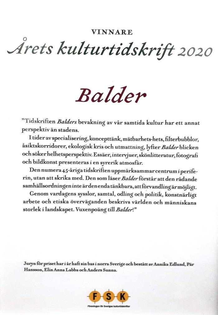 Balder är 2020 års kulturtidskrift